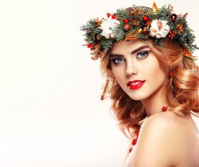 Young woman with Christmas wreath HD picture 01