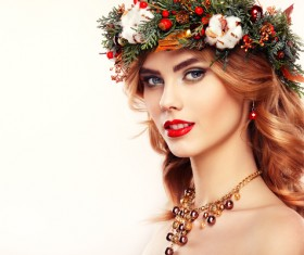 Young woman with Christmas wreath HD picture 03