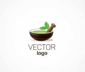 bowl with gree leave logo design vectors