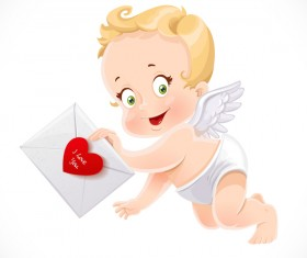 little Cupid with love letter vector material