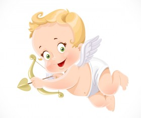little cupid aiming an arrow with white background vector