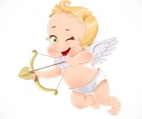 little cupid shoots bow vector