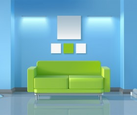living room interior design vector 01