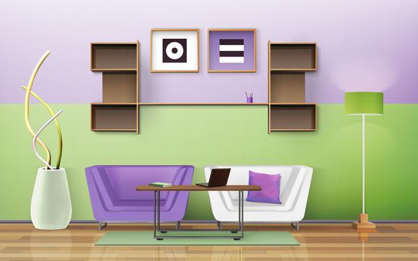 Living Room Interior Design Vector 05
