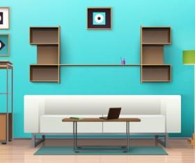 living room interior design vector 06