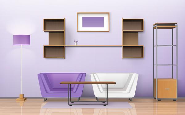 Living Room Interior Design Vector 07