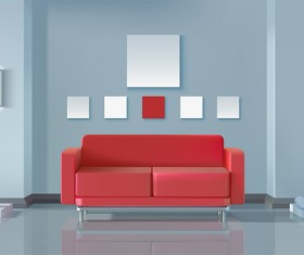 living room interior design vector 08