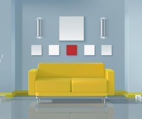 living room interior design vector 09