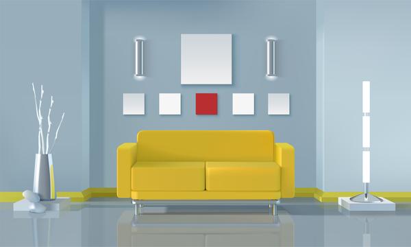 Living Room Interior Design Vector 09
