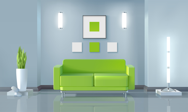 living room interior design vector 10