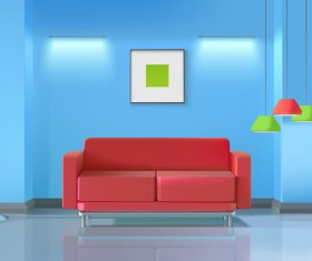 living room interior design vector 11