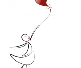 lover girls with red heart baloon vector 02