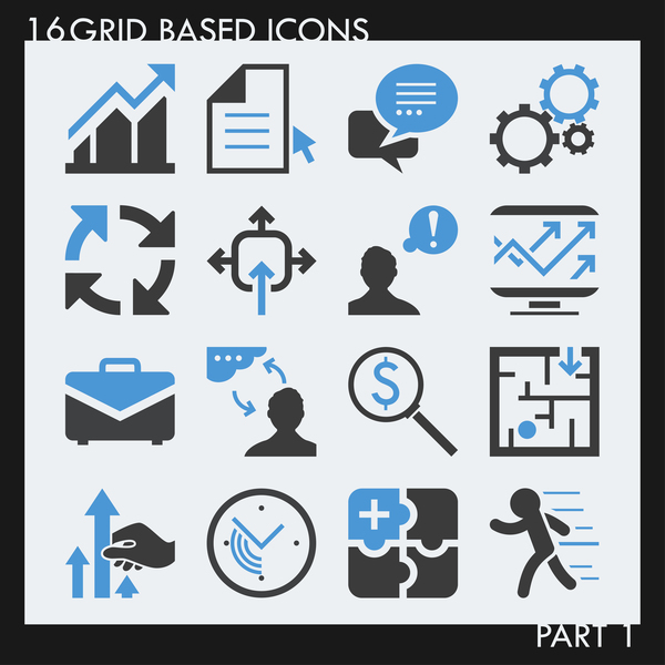 16 kind grid based icon