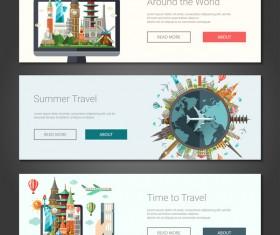 3 travel banner template vectors