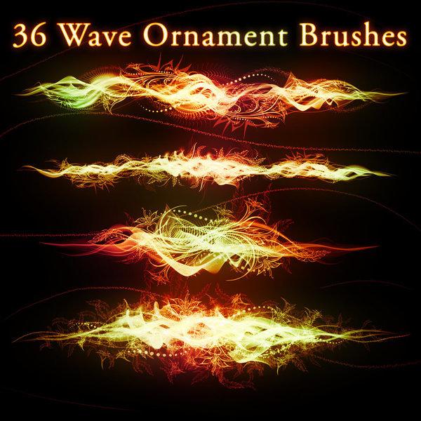 36 Wave Ornament photoshop brushes