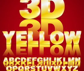 3D Yellow gradient alphabet with number vector material