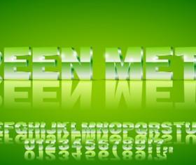 3D green gradient alphabet with number vector