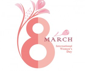 8 March symbol of figure eight and gently pink flower vector