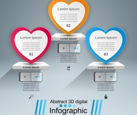 Abstract 3D digital heart infographic vectors 04