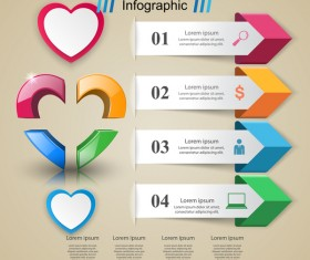 Abstract 3D digital heart infographic vectors 06