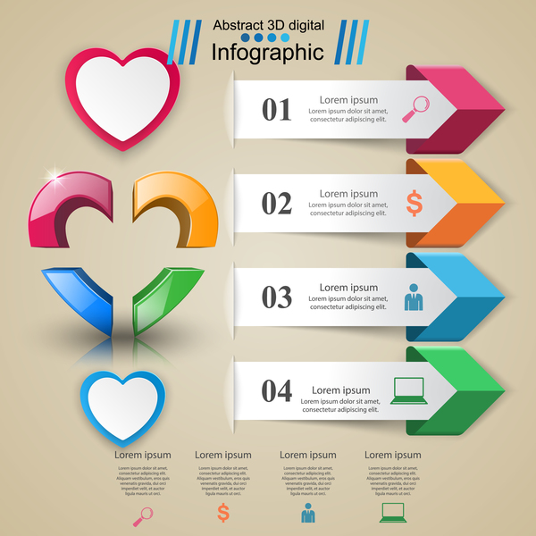 Abstract 3D digital heart infographic vectors 06 - Vector Abstract ...