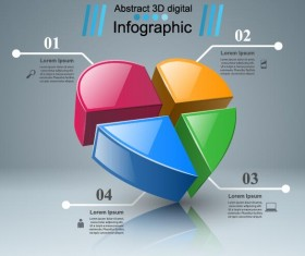 Abstract 3D digital heart infographic vectors 07