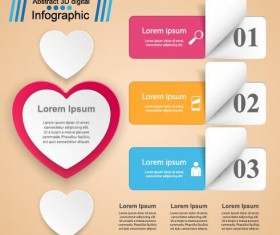 Abstract 3D digital heart infographic vectors 09
