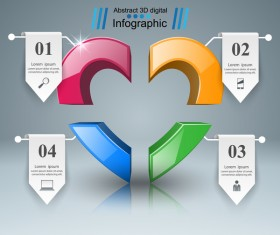 Abstract 3D digital heart infographic vectors 10
