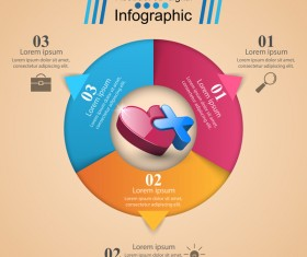 Abstract 3D digital heart infographic vectors 11