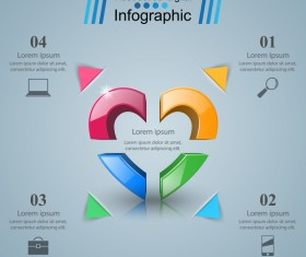 Abstract 3D digital heart infographic vectors 12