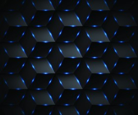 Abstract black rectangle pattern background with blue lighting vector