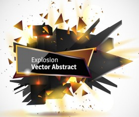 Abstract explosion effect golden with black background vector 01