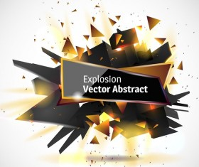 Abstract explosion effect golden with black background vector 02