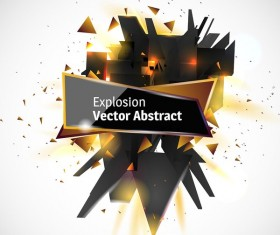 Abstract explosion effect golden with black background vector 03
