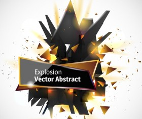 Abstract explosion effect golden with black background vector 04