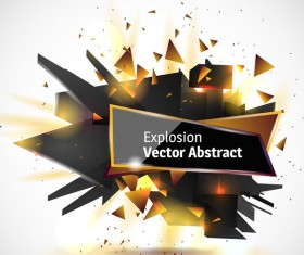 Abstract explosion effect golden with black background vector 05