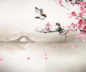 Ancient rhyme plum sparrow Stock Photo