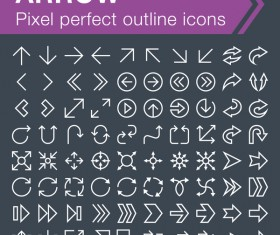 Arrow outline icons set