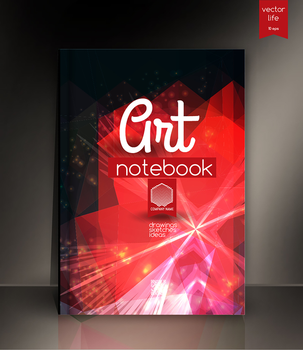 Art Notebook Cover Template Vector 08 Free Download