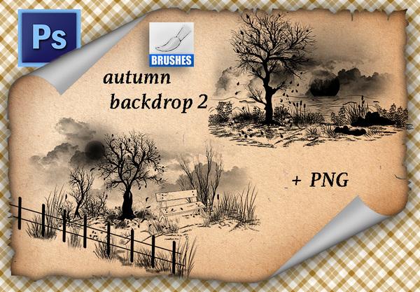 Autumn Backdrop Photoshop Brushes 02