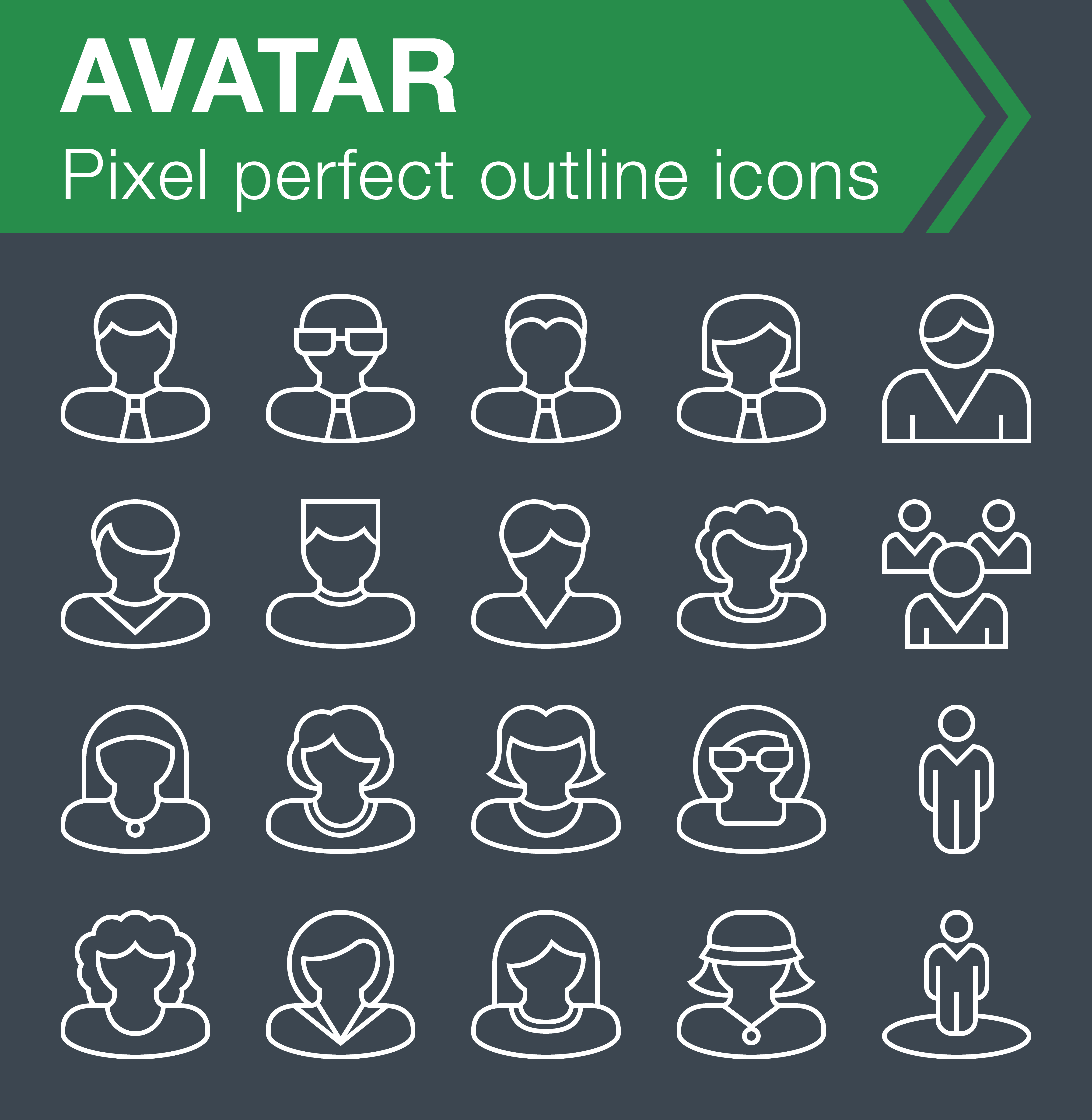 Avatar outline icons set