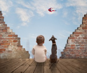 Baby and dog HD picture 03