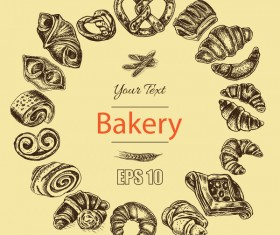 Bakery poster retro styles vector 05