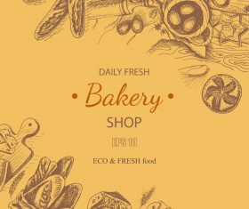 Bakery shop poster retro styles vectors