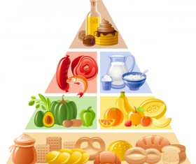 Balanced food pyramid infographics template vector 02