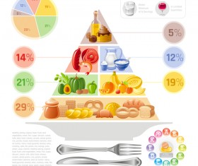 Balanced food pyramid infographics template vector 05