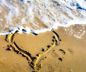 Beach heart-shaped Stock Photo