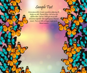 Beautiful butterflies with halation spring background vector 02