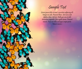 Beautiful butterflies with halation spring background vector 03