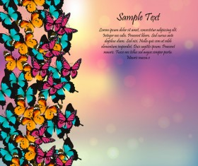 Beautiful butterflies with halation spring background vector 04
